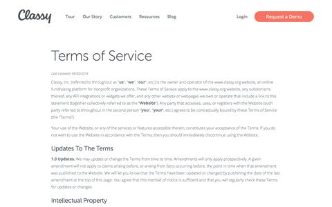 Screenshot of Terms Page classy.org - Terms & Conditions | Classy - captured Aug. 18, 2017