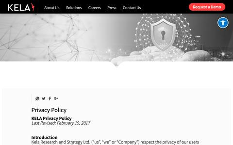 Screenshot of Privacy Page ke-la.com - Privacy Policy - Kela - captured March 6, 2019
