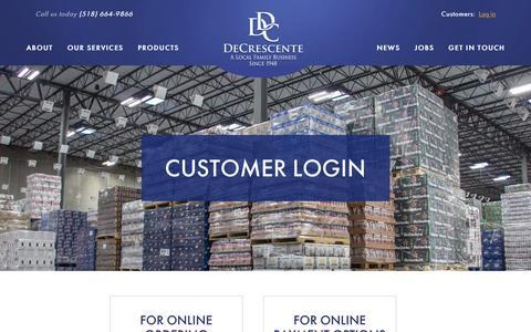 Screenshot of Login Page decrescente.com - Customer Login | DeCrescente Distributing Company - captured Feb. 8, 2016