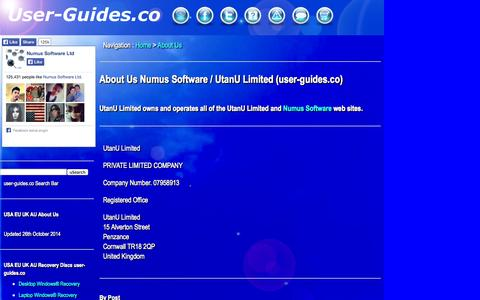 Screenshot of About Page user-guides.co - About Us : Numus Software / UtanU Limited | user-guides.co - captured Oct. 31, 2014