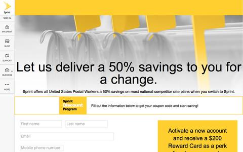 Screenshot of Landing Page sprint.com - Sprint offers all United States Postal Workers a discount on select regularly-priced Sprint monthly data service. - captured Aug. 30, 2016
