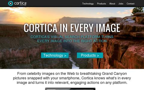 Screenshot of Home Page cortica.com - Cortica: In Every Image - captured July 17, 2014