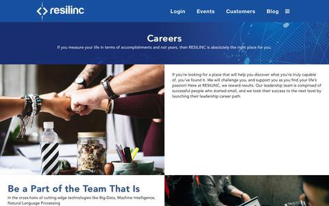 Screenshot of Jobs Page resilinc.com - Careers - Resilinc - captured Nov. 17, 2018