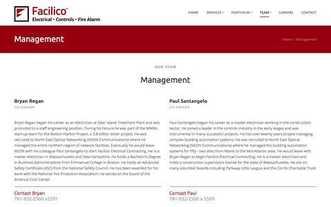 Screenshot of Team Page facilico.com - Facilico - Management - captured Jan. 8, 2016