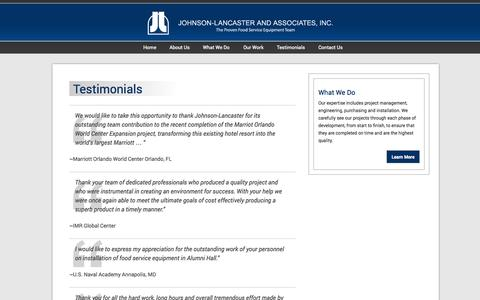 Screenshot of Testimonials Page johnson-lancaster.com - Testimonials | Johnson-Lancaster and Associates - captured Oct. 4, 2014