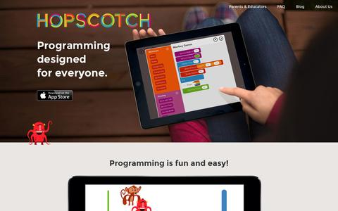 Screenshot of Home Page gethopscotch.com - Hopscotch - Coding for kids - captured Sept. 16, 2014