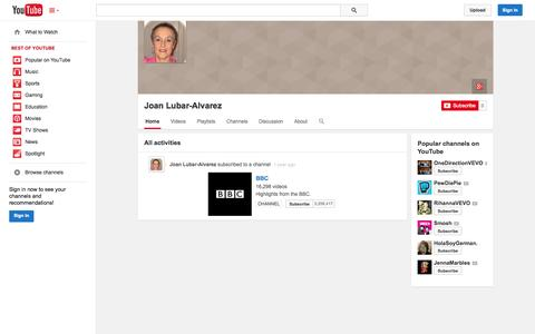 Screenshot of YouTube Page youtube.com - Joan Lubar-Alvarez  - YouTube - captured Oct. 23, 2014