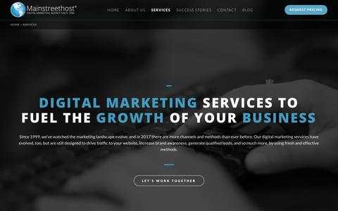 Screenshot of Services Page mainstreethost.com - Digital Marketing Agency Services | Strategy, Creative, & More - captured Oct. 28, 2017
