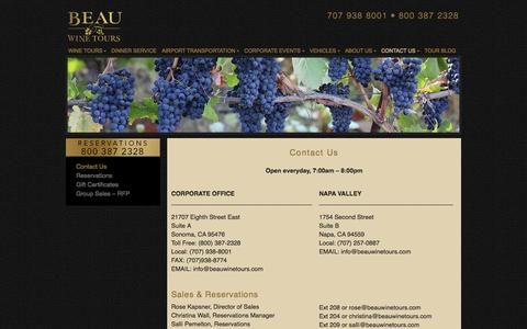 Screenshot of Contact Page beauwinetours.com - Contact Us - Beau Wine Tours & Limousine Service - captured Sept. 19, 2014