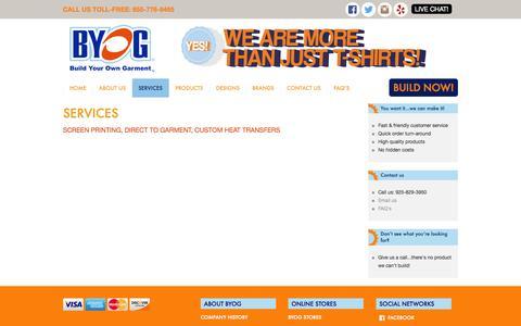 Screenshot of Services Page byoglogo.com - BYOG   Build Your Own Garment - captured Nov. 2, 2014