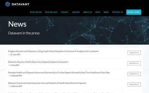 Screenshot of Press Page datavant.com - NEWS – Datavant - captured July 15, 2019