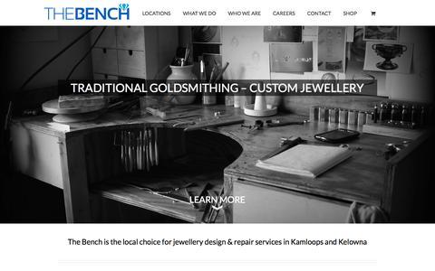 Screenshot of Home Page benchjewellery.ca - Jewellery Design & Repair | Kamloops | Kelowna | The Bench - captured Oct. 6, 2014
