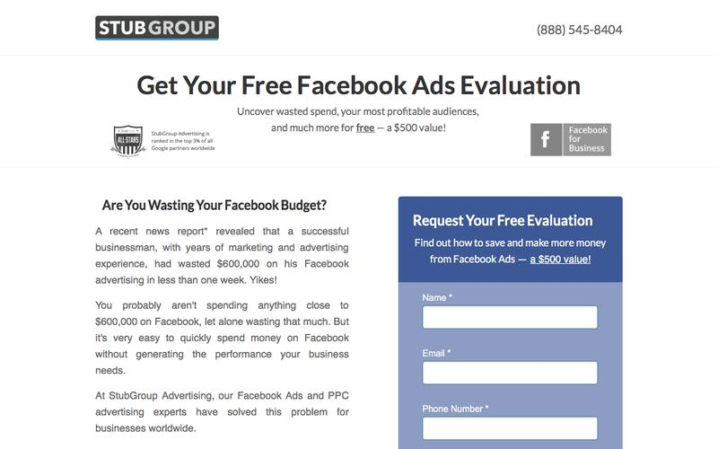 Free Facebook Ads Evaluation — StubGroup | A premier pay-per-click advertising agency