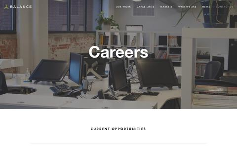 Screenshot of Jobs Page balanceinc.com - Balance Innovation & Design | Careers - captured Oct. 5, 2018