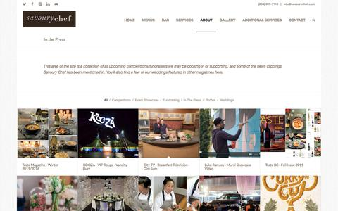 Screenshot of Press Page savourychef.com - In the Press | Savoury Chef Foods, Vancouver BC - captured Oct. 6, 2017