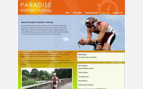 Screenshot of About Page paradise-tri-training.co.uk - Paradise Triathlon Training: About Us - captured Oct. 1, 2014