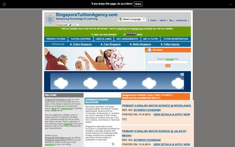 Screenshot of Home Page singaporetuitionagency.com - Singapore Tuition Agency :: Private Tutors, Tuition Assignments - captured Oct. 1, 2014
