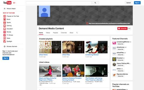 Screenshot of YouTube Page youtube.com - Demand Media Content  - YouTube - captured Oct. 22, 2014