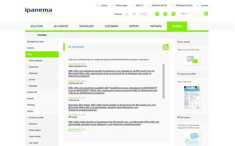 Screenshot of Press Page ipanematech.com - News - captured Sept. 16, 2014