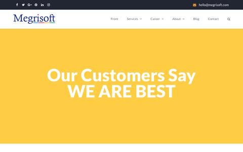 Screenshot of Testimonials Page megrisoft.com - What Megrisoft Customers Say From Around the World - Testimonials - captured Oct. 9, 2018