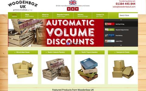Screenshot of Home Page woodenboxuk.com - WoodenBox UK - Manufacturer of Wooden Crates, Wooden Wine Boxes, Hamper Packaging - captured Sept. 30, 2014