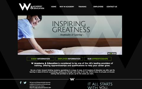Screenshot of Home Page wacademy.co.uk - Hairdressing Apprenticeships - captured Oct. 7, 2014