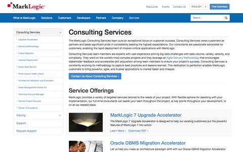 Screenshot of Services Page marklogic.com - Consulting Services   MarkLogic - captured Sept. 12, 2014