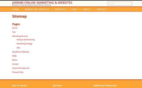 Screenshot of Site Map Page jarimbi.com - Sitemap • Jarimbi Online Marketing & Websites - captured Oct. 13, 2018