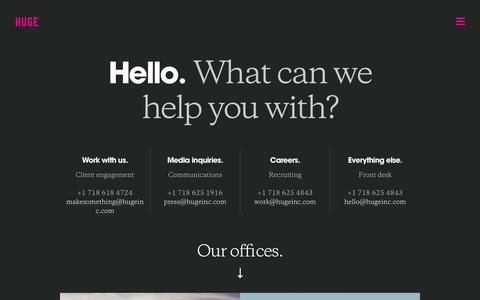 Screenshot of Contact Page hugeinc.com - Huge Contact Us - captured Sept. 18, 2014