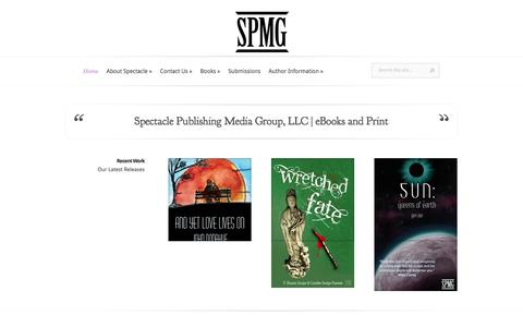 Screenshot of Home Page spectaclepmg.com - Spectacle Publishing Media Group, LLC | eBook and Traditional Publishing - captured Feb. 15, 2016