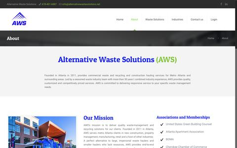 Screenshot of About Page alternativewastesolutions.com - Alternative Waste Solutions | Serving Greater Atlanta - captured Oct. 8, 2017