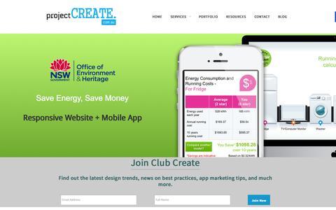 Screenshot of Home Page Contact Page projectcreate.com.au - Mobile App Development Sydney   Develop Mobile App with ProjectCREATE - captured Sept. 30, 2014