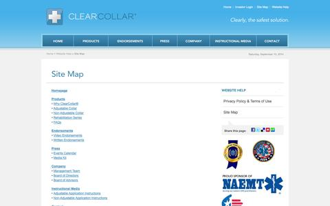 Screenshot of Site Map Page theclearcollar.com - Site Map - ClearCollar® - captured Sept. 13, 2014