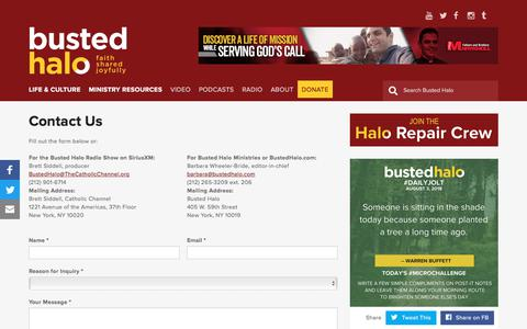Screenshot of Contact Page bustedhalo.com - Contact Us | Busted Halo - captured Aug. 4, 2018