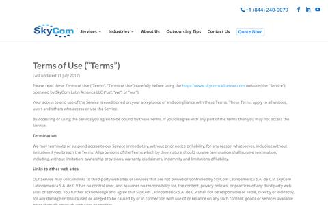 Screenshot of Terms Page skycomcallcenter.com - Terms - Onshore & Nearshore Call Center Experts - SkyCom - captured Oct. 2, 2018