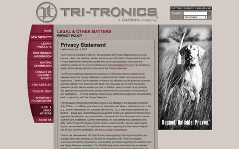 Screenshot of Privacy Page tritronics.com - Privacy Policy | TriTronics - captured Oct. 7, 2014
