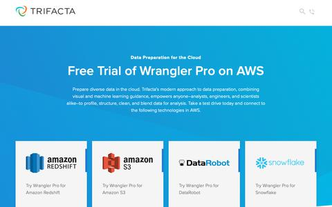 Screenshot of Trial Page trifacta.com - Free Trial of Wrangler Pro on AWS | Trifacta - captured June 7, 2019