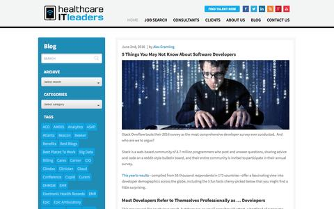 Screenshot of Developers Page healthcareitleaders.com - 5 Things You May Not Know About Software Developers - captured June 3, 2016