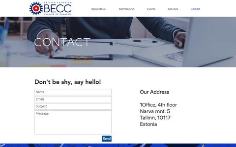 Screenshot of Contact Page becc.ee - Contact | British-Estonian Chamber of Commerce - captured Nov. 27, 2017