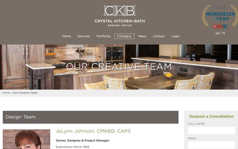 Screenshot of About Page crystalkitchen.com - Our Creative Team | Crystal Kitchen + Bath - captured Sept. 30, 2018