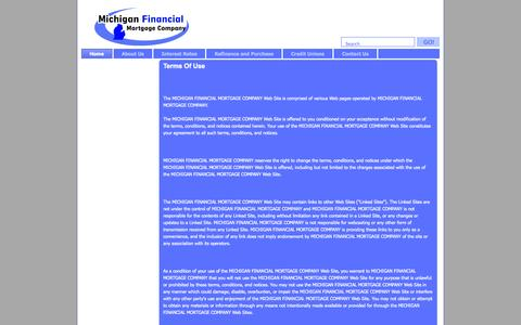 Screenshot of Terms Page michiganfinancial.net - Michigan Financial Mortgage Company - Partnering with Credit Unions for Your Mortgage - captured Oct. 27, 2014