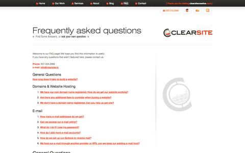 Screenshot of FAQ Page clearsitecreative.com - FAQ Clearsite Creative Web Design » Clearsite Creative Web Design - captured Sept. 29, 2014