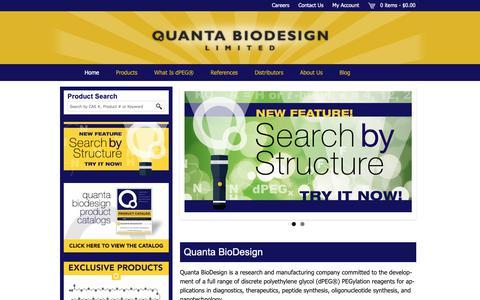 Screenshot of Home Page quantabiodesign.com - Quanta BioDesign, dPEG®, dPEG, discrete PEG - captured Sept. 29, 2018