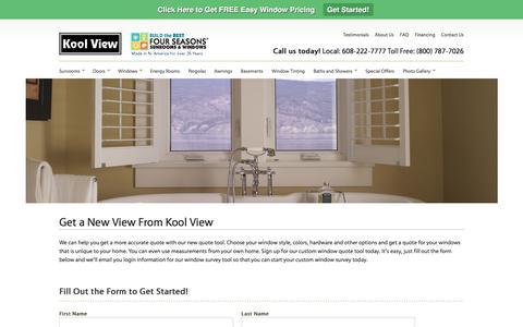 Screenshot of Signup Page koolview.com - Window Quote Madison   New Windows   Kool View Sunrooms Madison   - captured Nov. 27, 2016