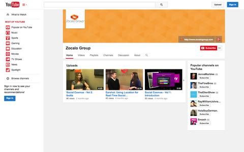 Screenshot of YouTube Page youtube.com - Zocalo Group  - YouTube - captured Oct. 26, 2014