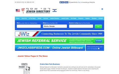 Screenshot of Press Page jewishyellow.com - In The News - Jewish, Jewish Guide, Jewish Directory, Jewish Classified, Kosher, Kosher Guide - captured Nov. 14, 2018
