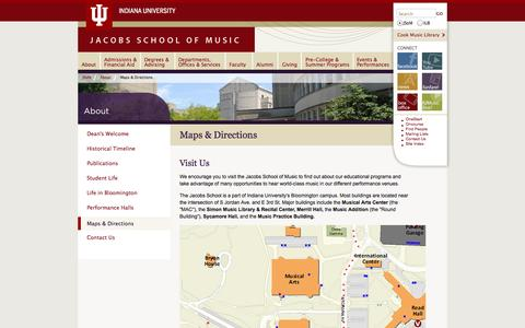Screenshot of Maps & Directions Page indiana.edu - Maps & Directions: About: Jacobs School of Music: Indiana University Bloomington - captured Sept. 18, 2014