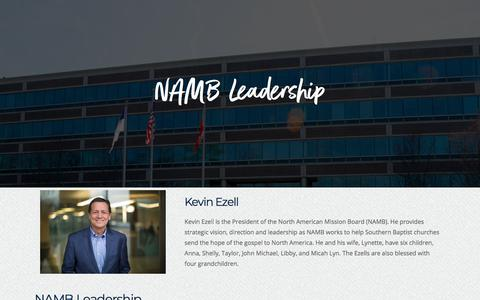 Screenshot of Team Page namb.net - Leadership - NAMB - captured June 8, 2018