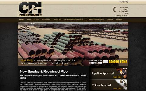 Screenshot of Home Page cpipipe.com - Since 1981 CPI Pipe | Pipeline Removal Companies Oil and Gas Industry - captured Oct. 1, 2014