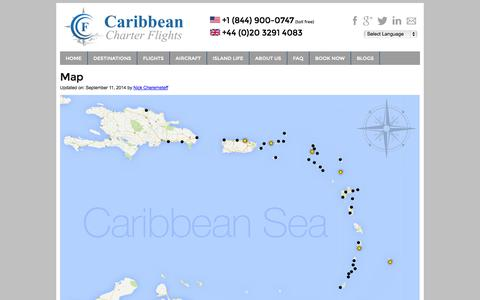 Screenshot of Maps & Directions Page caribbean-charter-flights.com - Charter Flights | Caribbean Charter | Caribbean Airline - captured Sept. 22, 2014